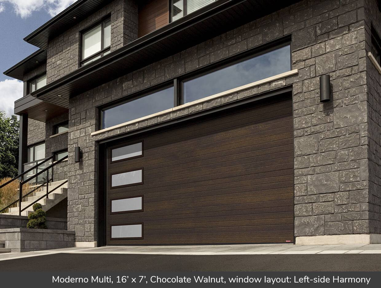 Moderno Multi, 16' x 7', Chocolate Walnut, window layout: Left-side Harmony