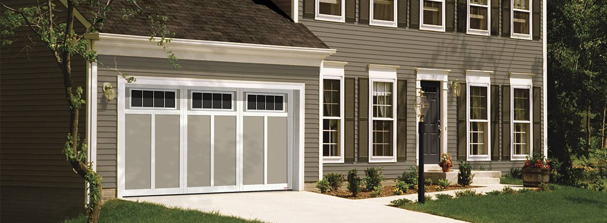 Eastman E-12, 14' x 7', Claystone door and Ice White overlays, 4 lite Orion windows