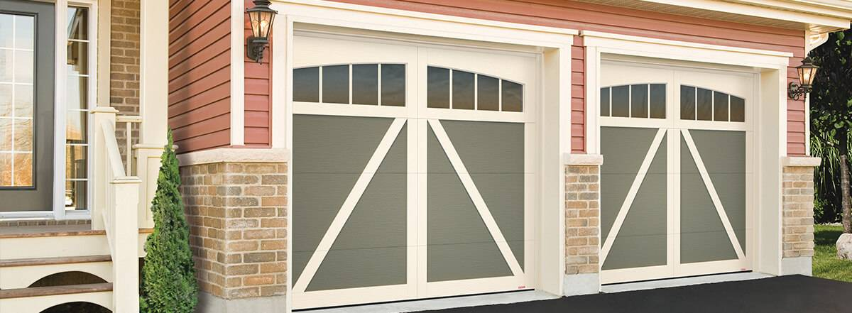 Eastman E-22, 8' x 7', Dark Sand doors and Desert Sand overlays, Arch Overlays 4 lite Panoramic windows